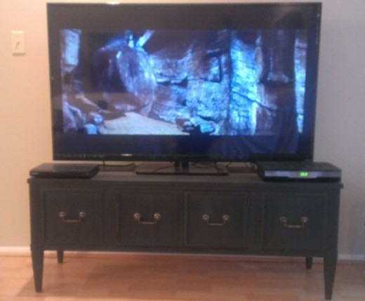 "'Better After' TV console DIY transformation.  It looked so good, we upgraded from a 39"" to a 55"" TV!"