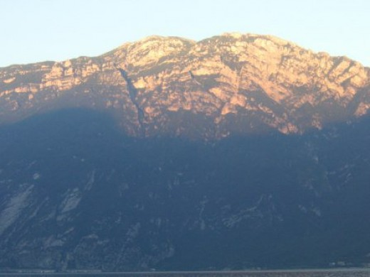 My favorite motive: Sunset over the Dolomites, on the other shore of Northern Lake Garda