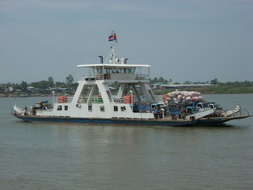Ferry across the Mekong River in Neak Leung.