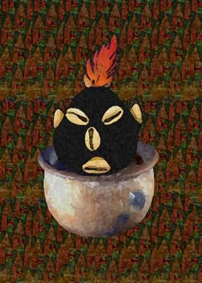 Eshu in a Pot painting copyright 2005 Denise Alvarado All rights reserved worldwide.