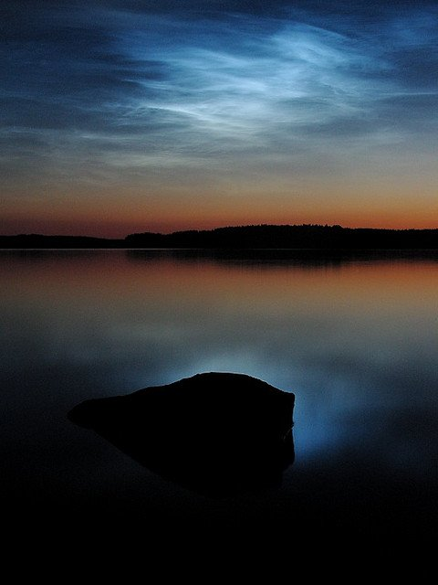 Noctilucent clouds over Lake Saimaa