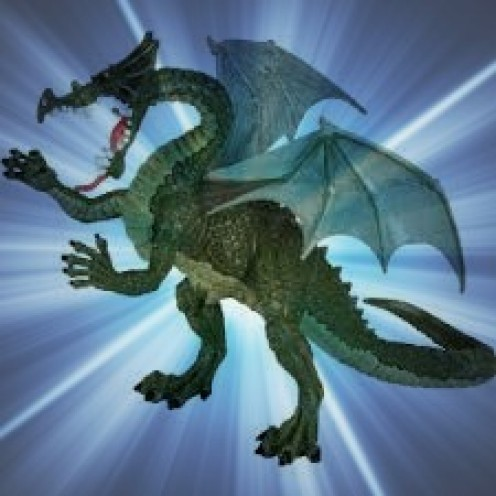 A green dragon figurine goes super nova.