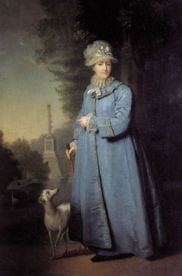 Portrait of the aging Catherine The Great with an Italian Greyhound.