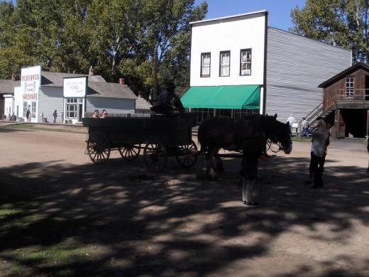 Wagon rides down 1885 street