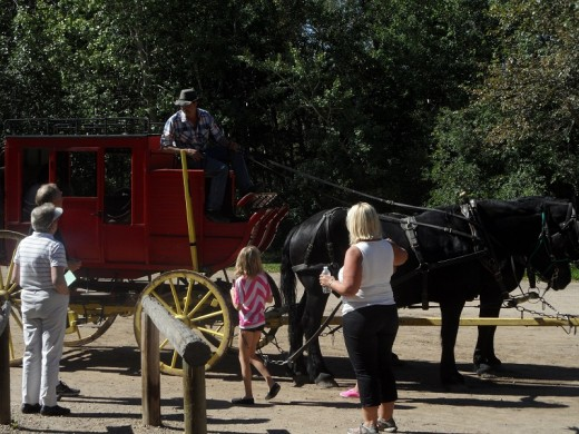 Catch the stagecoach at the trading post.
