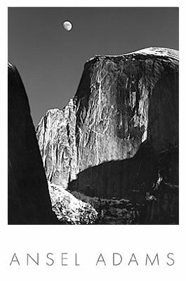Ansel Adams Moon Over Cliff
