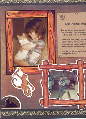 Scrapbook Layout Showing a Boy With his Pets
