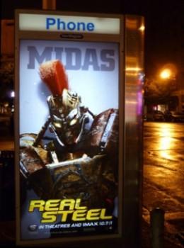 Midas Real Steel robots bus stop movie poster