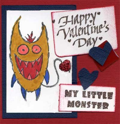 Little Monster Valentine Card for Child