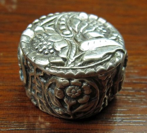 Fine silver round lidded box with LOS patina, textured with purchased and handmade vintage button molds
