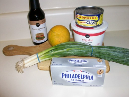 Ingredients for clam dip