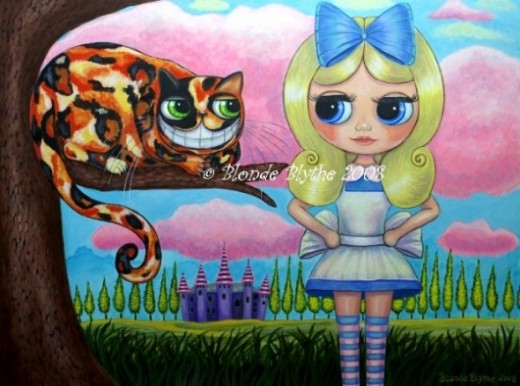 """Alice in Wonderland and the Cheshire Cat"" by Blonde Blythe"