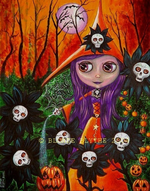"""Halloween Blythe and the Magic Garden"" by Blonde Blythe"