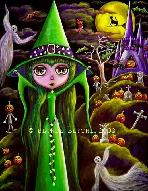 """Green Halloween Blythe Witch"" by Blonde Blythe"