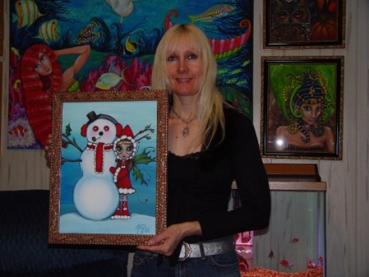 """Frosty Friend"" by Misty Benson. I love snowmen, and I love this painting! As you can see, Misty typically conveys her great sense of humor into her fabulous work! Misty Benson's work may be seen in the book, Big Eye Art: Resurrected and Transformed."