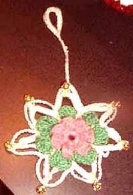 Wild Rose Snowflake Ornament  (See my free pattern list below)