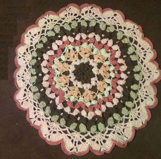 Pink & Brown Doily (pattern will be in my new pattern book coming in Fall 2012).
