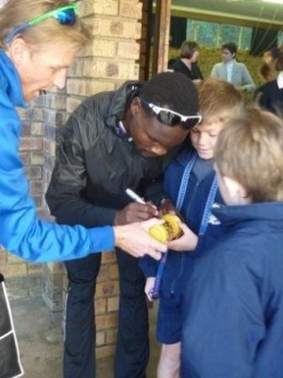 Signing Autographs at Special Guest Assembly at Laddsworth Primary School, held in his honour 31 May 2011