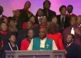 International Mass Choir of the Pentecostal Assemblies of the World. Bishop Horace Smith in the foreground.