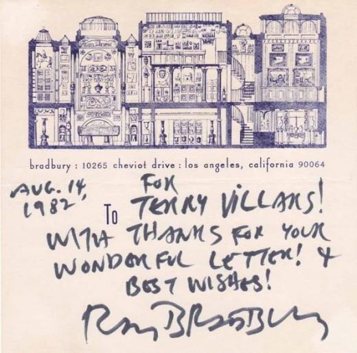 Ray Bradbury Letter
