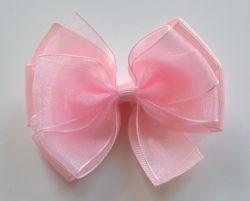 Leiah Organza Hair Bow (Light Pink)