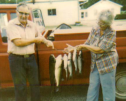 Enjoy Fishing (Gail & Clyde Martin Caught All These at Sugar Valley Lake). They usually caught bass and catfish. They caught so many one summer that they held a big fish fry for all the neighbors.