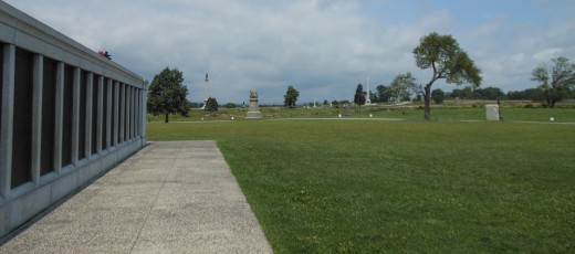 A panoramic view of markers along the field from the Pennsylvania Monument.