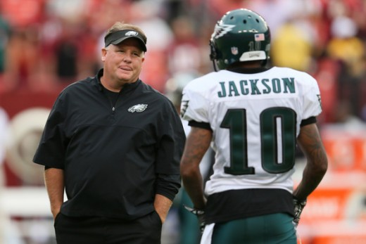 Eagles Head Coach Chip Kelly (L) and former Eagles WR DeSean Jackson (R)