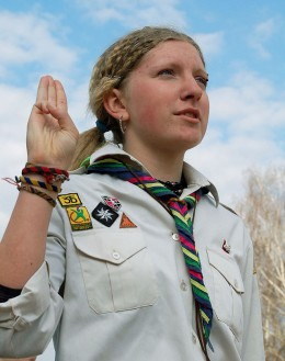 The scouts' salute demonstrates self-respect, and respect for others.  Photo by Viktor Gurniak