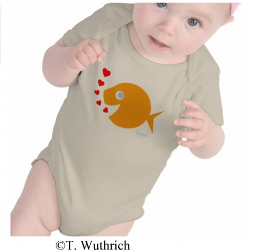 See this blue-eyed goldfish baby onesie in my shop by clicking the highlighted blue text below this image.