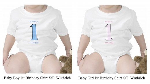 To see the boy's version of this First Birthday Baby Onesie please click the link below this image.  Or see both by clicking the highlighted text in the first paragraph at the top of this page.