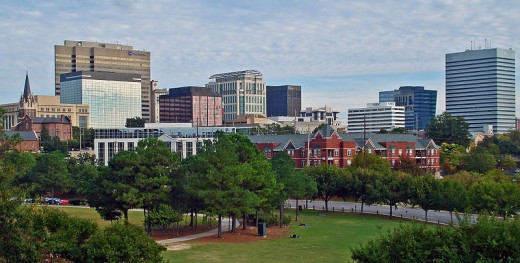 Columbia South Carolina Skyline, overlooking Finley Park