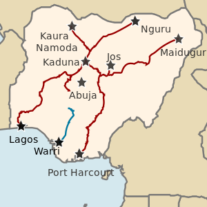 The Nigerian Railway map. Map showing the railway channels in Nigeria.