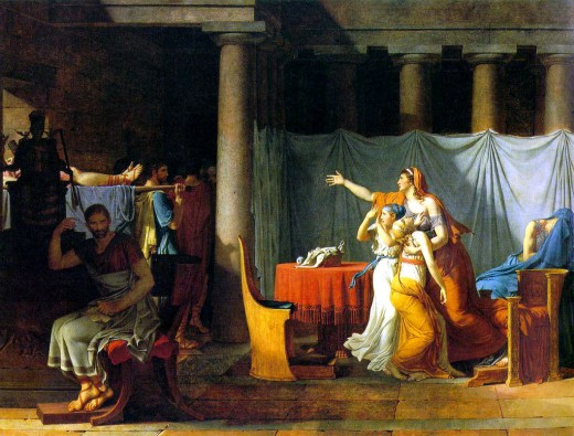 """The Lictors Bring Home the Sons of Brutus,"" 1789, concerning Lucius Brutus"