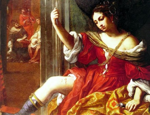 """Porcia Wounding Her Thigh,"" 1638-1665, by Elisabetta Sirani"