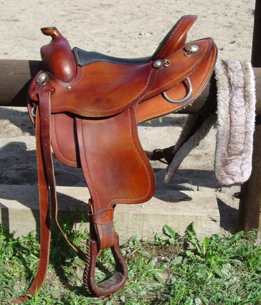 Western style American leather saddle.