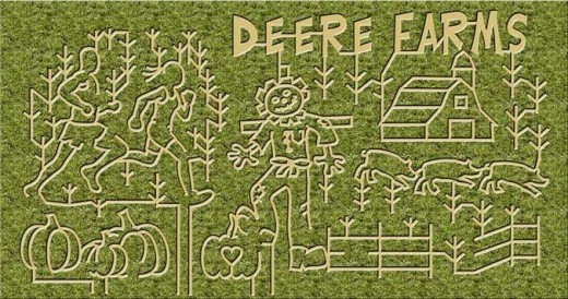 In 2013 Deere Farms had 3 mazes covering a total of 12 acres