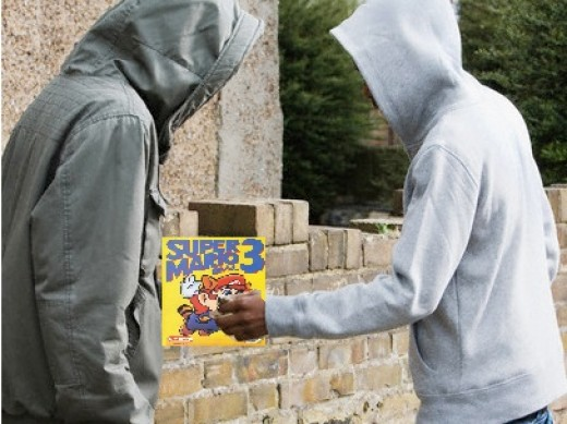 Super Mario Brothers 3 was like crack. In fact, it was often sold in back alleyways to video gaming addicts who couldn't get enough. Pictured here is an illicit deal involving a Mario 3 transaction.