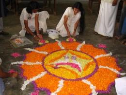 Floral Decoration during Onam