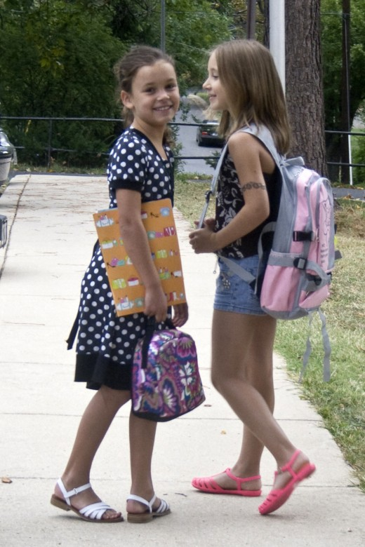 Friends on the way to school