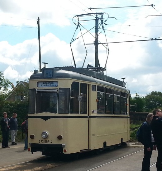 The accessible tram at Crich Tramway Village.