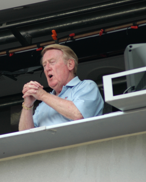 "Vin Scully sings ""Take Me Out to the Ballgame"" at a game in 2006."