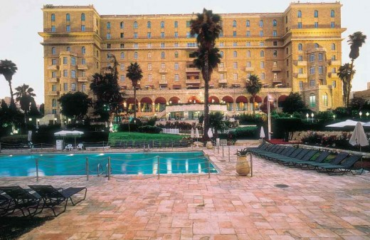 View of the garden and pool area of the King David Hotel