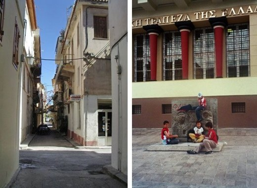 I keep forgetting to take pictures of the modern cities. Here's one very, very typical city street of Nauplion (or Athens, or most of the other Greek cities). These boys were playing on a 14th century Venetian lion.