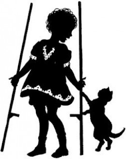 Girl with stilts and her cat. See the link below to download this from Vintage Feedsacks.