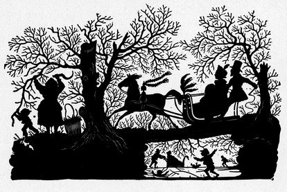 This silhouette sleigh scene is a beautiful black and white piece of clip art. Please visit the Web site (provided below) to download it.Courtesy of Reusable Art.