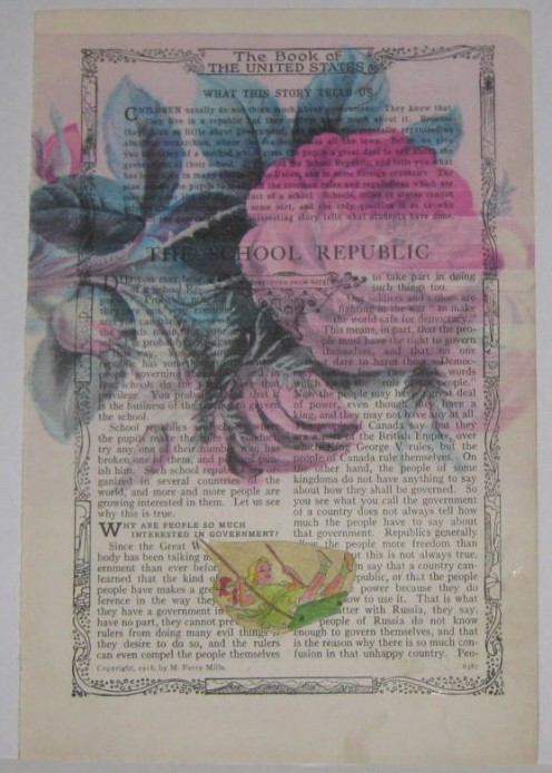 Art collage using an old book page from the Making Collages link below.