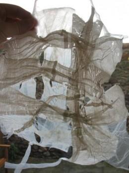 Plastic bag handles webbing.
