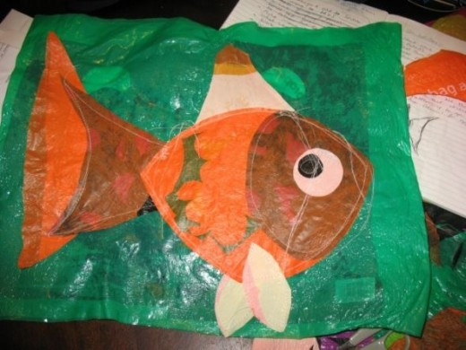 The fish all sewn together. The fish is facing the opposite direction to my doodle because I drew the fish onto the back of the plastic in pen.