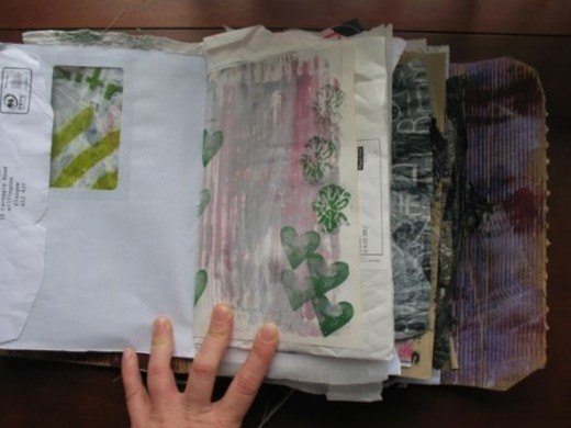 I used random paper from junk mail and altered books.